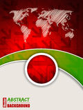 Abstract red green brochure with arrows. And world map royalty free illustration