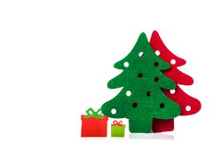 christmas trees with gifts Stock Photos