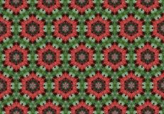 Abstract red green flower pattern wallpaper. Royalty Free Stock Photo