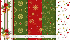 Abstract red, green and gold seamless patterns set. Christmas design templates. Vector. Illustration Stock Illustration