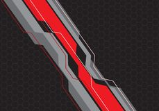 Abstract red grey line circuit on hexagon mesh design modern futuristic background vector. Illustration stock illustration