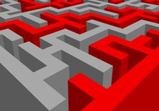 Abstract red-grey maze. 3d rendering of a red-grey maze in close up view. Mazes and labyrinths. Secrets and puzzles. Problems and solutions stock illustration