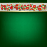 Abstract red grunge background with flowers Royalty Free Stock Photo