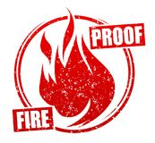 Abstract red grunge rubber stamp with caption FIREPROOF and blaz. Ing fire Royalty Free Stock Photos