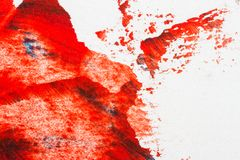 Abstract red hand painted acrylic background. Creative abstract hand painted colorful background, close up fragment of acrylic painting on paper Royalty Free Stock Photo