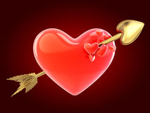 Abstract red heart and arrow Stock Images