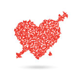 Abstract red heart with the arrow Royalty Free Stock Image
