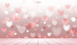 Abstract red heart background with wooden terrace for Valentines Royalty Free Stock Image