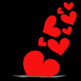 Abstract red heart on black background Royalty Free Stock Photography