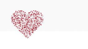 Abstract red heart composed of particles pulsates on a white background. 3D render.