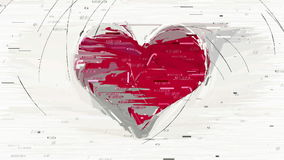 Abstract red heart decorative animation stock video footage