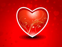 Abstract red heart with floral Royalty Free Stock Images
