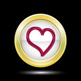 Abstract red heart in a Golden round frame on a black background heart Realistic heart in frame. Template design for Royalty Free Stock Image