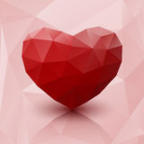 Abstract red heart low poly with reflection. Royalty Free Stock Photography