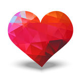 Abstract red heart. Made with triangles stock illustration