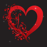 Abstract red heart with ornaments Stock Photography