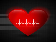 Abstract red heart over grid, with pulse line Stock Image