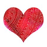Abstract red heart with pattern stock illustration