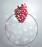 Abstract red heart shape. Illustration, scientific design. You can add your text in the circle Vector Illustration