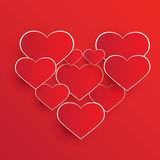 Abstract red heart shapes Stock Photo