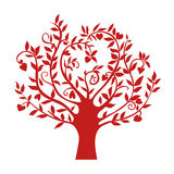 Abstract red heart tree, isolated nature symbol, silhouette sign Stock Photography