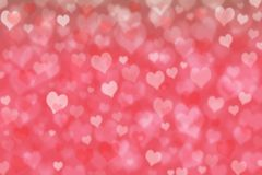 Pink hearts bokeh.Illustration design. Abstract red heart for Valentines day background. Heart shapes pattern and texture for greeting card, wedding card Stock Photo