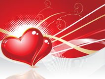 Abstract red heart with wave. Vector illustration Royalty Free Stock Photo