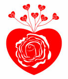 Abstract red heart and white rose Royalty Free Stock Images