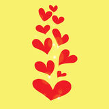 Abstract red heart on yellow background Stock Photos
