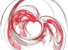 Abstract red hearths. Abstract fractal in red with heart shapes over white background stock image