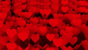 Abstract red Hearts background. Abstract red Hearts black background stock video footage