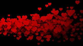 Abstract red hearts, flying. Royalty Free Stock Photos