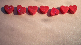 Abstract red hearts shape on blurry background Royalty Free Stock Photo