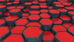 Abstract red hexagon geometry background. 3d rendering. Abstract hexagon geometry background Stock Illustration