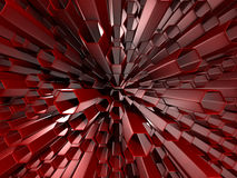 Abstract Red Hexagon Pattern Tubes Background. 3d Render Illustration Stock Photos
