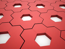 Abstract red hexagonal gears Royalty Free Stock Photos