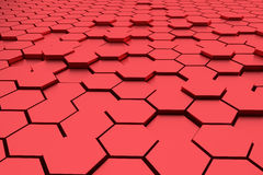 Abstract red hexagons 3d rendering background Stock Images
