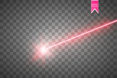 Abstract red laser beam. Isolated on transparent black background. Vector illustration,. Eps 10 Royalty Free Stock Image