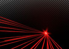 Abstract red laser beam. Transparent isolated on black background. Vector illustration stock illustration