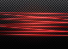 Abstract red laser beam. Transparent isolated on black background. Vector illustration.the lighting effect.floodlight. Directional Stock Images
