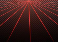 Abstract red laser beam. Transparent isolated on black background. Vector illustration.the lighting effect.floodlight. Directional Stock Photos