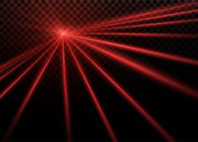 Abstract red laser beam. Transparent isolated on black background. Vector illustration.the lighting effect.floodlight. Directional Royalty Free Stock Image