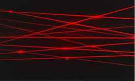 Abstract red laser beam. Transparent isolated on black background. Vector illustration.the lighting effect.floodlight directional. Royalty Free Stock Photography