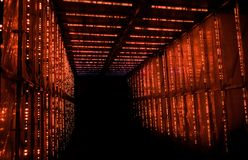 Abstract red leds glowed rectangular infinity tunnel. On dark background stock photography