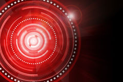 Abstract red lighting cog time-machine flare background. Stock Image