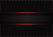 Abstract red line black banner on hexagon mesh pattern design modern futuristic background vector. Illustration stock illustration