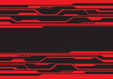 Abstract red line circuit futuristic technology on black design modern background vector royalty free illustration