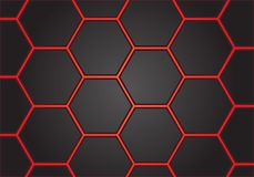 Abstract red line hexagon on gray design modern futuristic background vector. Illustration Stock Photos