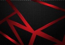 Abstract red line triangle on dark grey hexagon mesh pattern design modern futuristic background vector. Illustration royalty free illustration