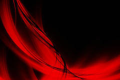 Abstract red lines and waves. Black background with abstract red lines and waves Royalty Free Stock Photos